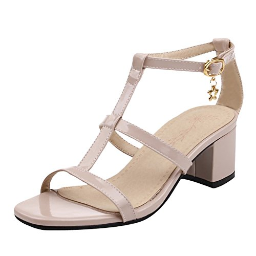 Mee Shoes Damen chunky heels Schnalle Knöchelriemchen Sandalen Nackt-Farbe
