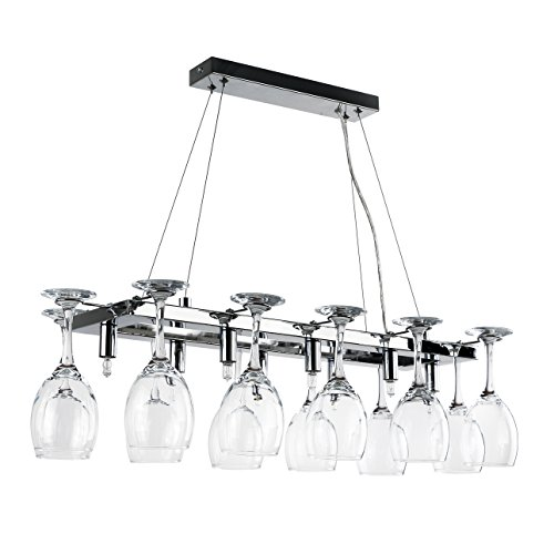 Elegant Designer 8 Way Adjustable Suspension Over Table Polished Chrome Drop Down Dining Room Kitchen Ceiling Light With 12 Wine Glass Holders