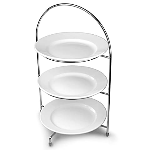 Utopia Chrome 3-Tier Cake Stand 43cm with 3 x White Plates 23cm for Displaying Afternoon (Gres 3 Tiered)
