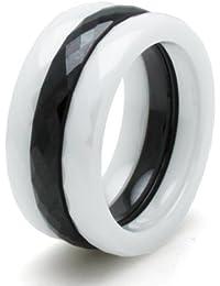 Keramik Schwarz & Weiß 3mm Stapelbar Multi Facettiert Ring (1 schwarz / 2 weiß) Set