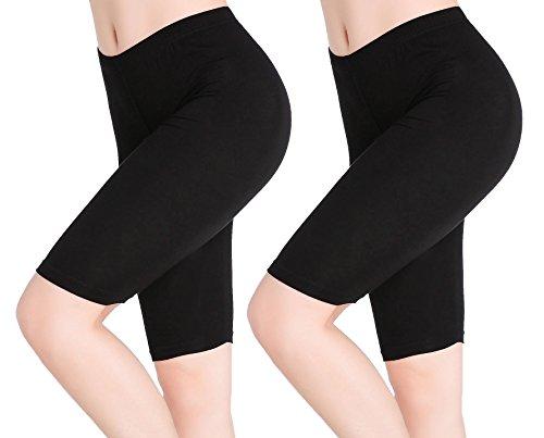 Damen Leggings Kurz Schwarz Unter Rock Shorts 1/2 Hose Sommer - Weich Elastisch