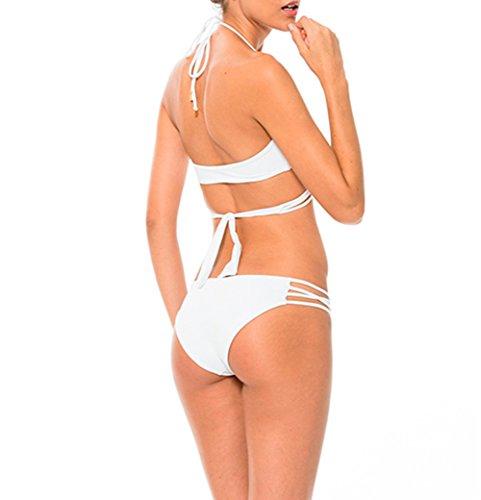 Y&L Halfter V-neck-Bikini-Sets Padded Bra Mädchen Badeanzüge Bademode Urlaub Beachwear Weiß