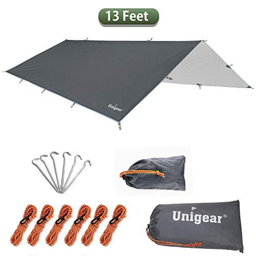 Unigear Zeltplane, Tarp für Hängematte, wasserdicht mit Ösen + 6 Erdnägel+ 6 Seilen, Regenschutz Sonnenschutz für Ourdoor Camping MEHRWEG (Grau-300 x 400cm)