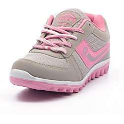 Asian Shoes Women's Light Grey And Pink Sports Shoes - 8 Uk