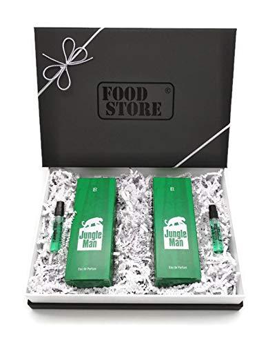 2x LR Jungle Man Eau de Parfum 50ml (Nr.3430) + 2 Jungle Minis für unterwegs - mit hochwertiger Geschenkverpackung -