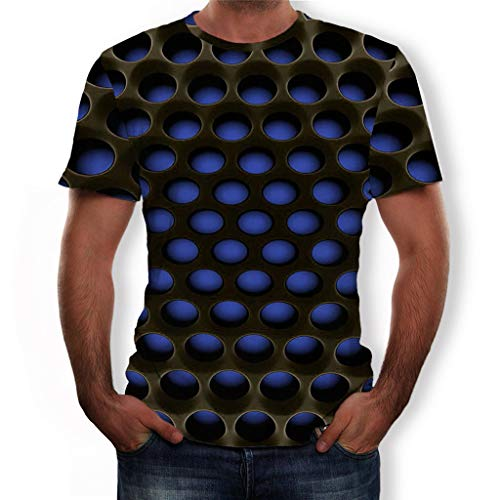 873917d22d4f2 Summer Men's Short Sleeve T-Shirt Round Neck 3D Graphic Printed Honeycomb  Tops for Gym