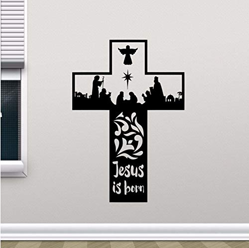 Wuyyii Religion Vinyl Wandaufkleber Abnehmbare Jesus Christus Ist Geboren Cross Wall Decal Home Schlafzimmer Dekor Vinyl Wand Kunst Wand 57X83Cm