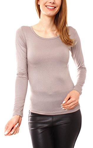 Fragola Moda Fragolamoda Damen Basic Langarm Shirt Rundhals Taupe