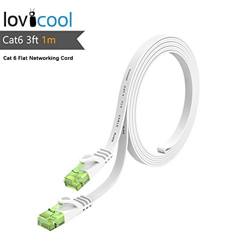 Lovicool Cat 6 Gigabit Ethernet Lan Cable High Speed Internet Cable 3ft White Flat Computer Network Cable RJ45 Connector LAN Networking Cord