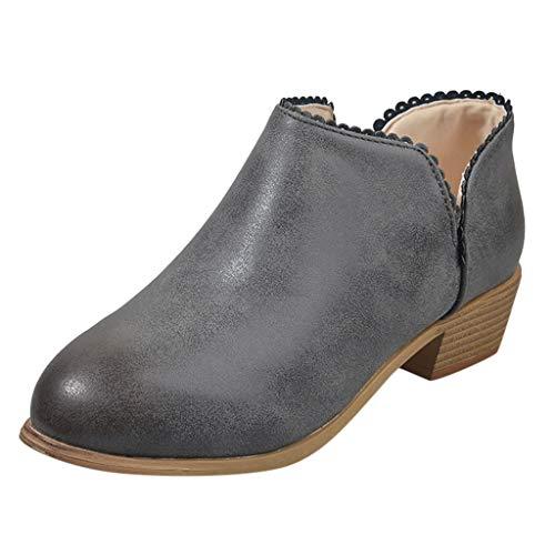 friendGG Stiefeletten Damen Boots Leder Wildleder Low Top Ankle Boots Blockabsatz Stiefel Mit Blockabsatz Elegant Schuhe (Grau,36 EU)
