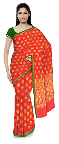 Akram Sarees Women's Kota Doria Handloom Cotton Silk Saree With Blouse Piece (Orange)