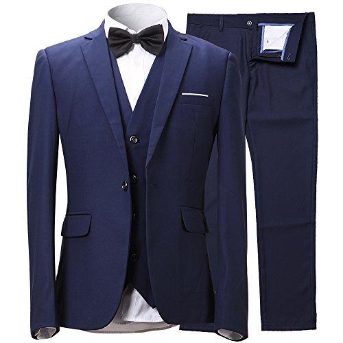 Herren Anzug Slim Fit 3 Teilig mit Weste Sakko Anzughose Business Smoking von Harrms,Marine Blau,EU 48/Hose 32
