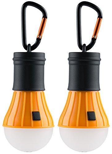 munkees 2 x Camping Accessories I Zubehör I Hochwertige LED Campinglampe I Lantern Light I Wasserdicht ohne Strom, Orange Doppelpack 1008