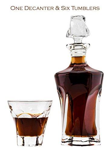 Victoria Bella 92-100082, Set bleifreies Kristall Dekanter und 6heavy-base Whisky Scotch Brandy Gläser, Classic Hochzeit Geschenk Karaffe & Whiskey, 1+ 6-teilig (Irish Dekanter-set)