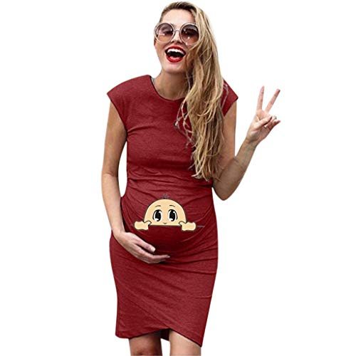 LINSINCH Maternity Dress Women Short Sleeve Pregnant Nursing Solid Cartoon Print Skirt Wine XL - Print Silk Wrap