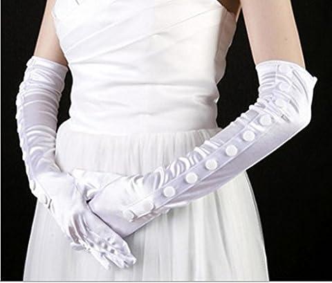 Dbtxwd Gant Robes de mariée demoiselle d'honneur Banquet protection solaire gants Elbow longueur Satin gants à doigts