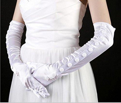 Dbtxwd Handschuh Kleider der Braut Brautjungfer Bankett Sonnenschutz Finger Ellenbogen Länge Satin (Ellenbogen Lange Erwachsene Für Weiß Handschuhe Länge)
