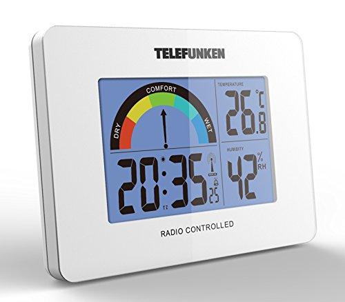 Telefunken FUD de 40com (W) LCD de radio despertador con térmica de/higrómetro 10x 3,5x 7,5cm (Blanco)