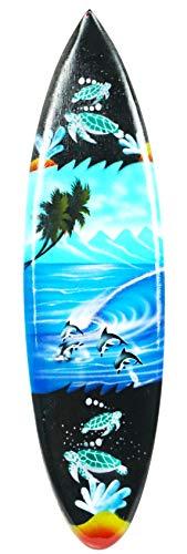 Asia Design Miniatur Surfboard Dekosurfboard Surfbrett Holz Wellenreiten Höhe 30 cm inkl. Holzständer Dekoration Nr 5