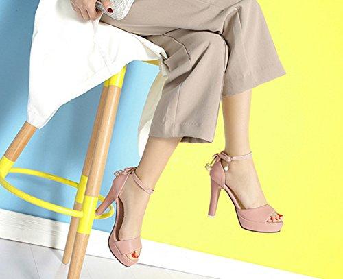 Aisun Damen Elegant Offene Zehe Hoher Trichterabsatz Knöchelriemchen Sandale Mit Schleife Pink