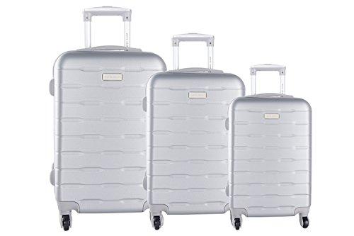 3 Maletas rígidas PIERRE CARDIN plata 4 ruedas cabina para viajes VS20