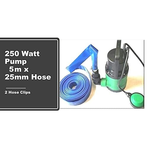 Equip247uk Submersible 250W Water Pump + 5 metres x 25mm Lay Flat Hose Hot Tub Swimming Pool