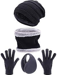 Tatuo 4 Pezzi Set Sci Caldo Inverno Esterno Accessorio a Maglia Include Inverno  Cappello Sciarpa Guanti 220bb882bd0f