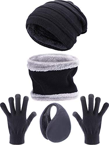 Tatuo 4 Pezzi Set Sci Caldo Inverno Esterno Accessorio Maglia Include Inverno Cappello Sciarpa Guanti Paraorecchie per Le Donne e Gli Uomini