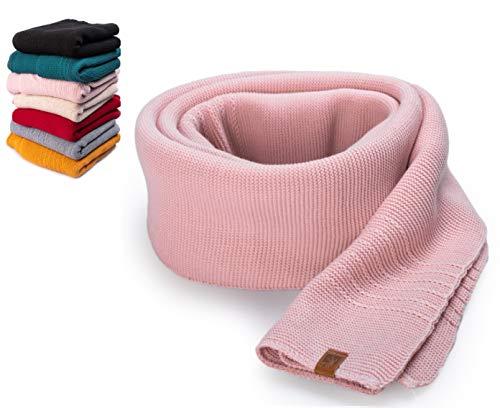 HEYO Damen Schal Winter Strickschal | H19603 | Weich Warm Gestrickt mit Leder Patch | Made IN EU (Rosa)