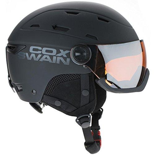 COX SWAIN Ski-/Snowboard Helm DILLEN VISOR- mit Recco Lawinenreflektor, Colour: Black / Orange Mirror Lens, Size: 56-58cm