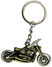 Motor Bike Shape Copper Metallic Key Chain Full Metal Keyring For Car And Bike