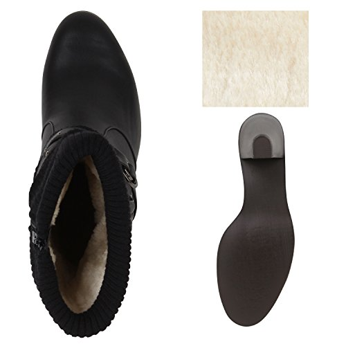 High heels femme en tricot avec trichterabsatz Noir - Noir