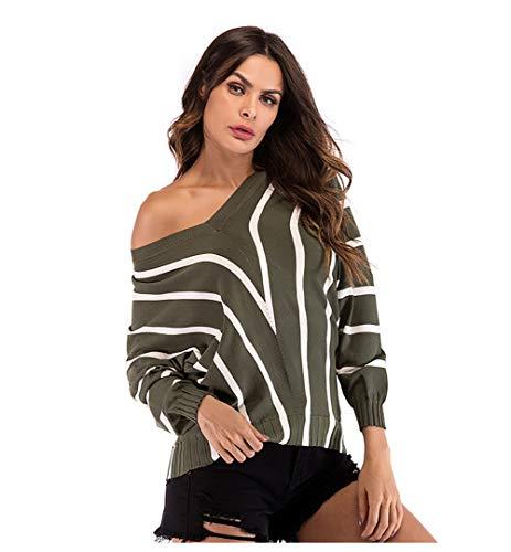 Frauen Herbst Und Winter Gestreiften Pullover Mit V-Ausschnitt Pullover Lose SchläGer ÄRmel Kopf Base Shirt,Green,M (Pullover Green Crewneck Wool)
