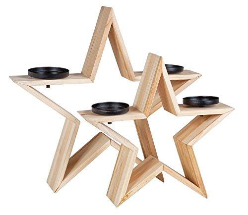 VBS 2er-Set Kerzenhalter in Stern-Design aus Fichtenholz zum Weihnachtsbasteln als Dekoration Tisch Draußen Kerzenständer Adventsdeko