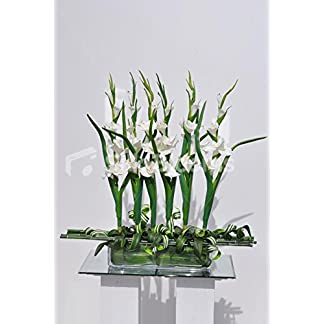 Artificial moderno blanco fresco Supergets gladiolos y bambú de arreglo Floral