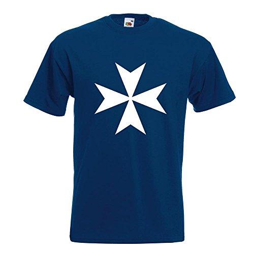 KIWISTAR - Malteserkreuz T-Shirt in 15 verschiedenen Farben - Herren Funshirt bedruckt Design Sprüche Spruch Motive Oberteil Baumwolle Print Größe S M L XL XXL Navy