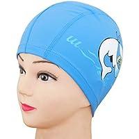 Toyonee Impermeable Orejeras PU Cap Dolphin Pattern Gorro de baño para niños (Blue)