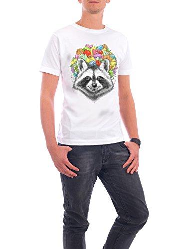 """Design T-Shirt Männer Continental Cotton """"raccoon with a bouquet"""" - stylisches Shirt Tiere Natur Essen & Trinken von Nikita Korenkov Weiß"""