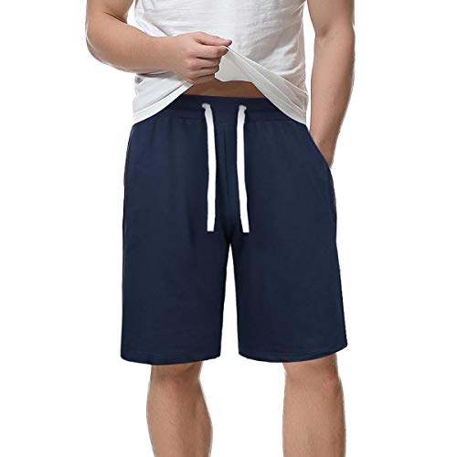 Sykooria Teenager Jungen Kurze Hose Einfarbig Sommer Kurze Hose Urlaub Hawaii Männer Joggen Sport Täglich Shorts mit Kordelzug Navy