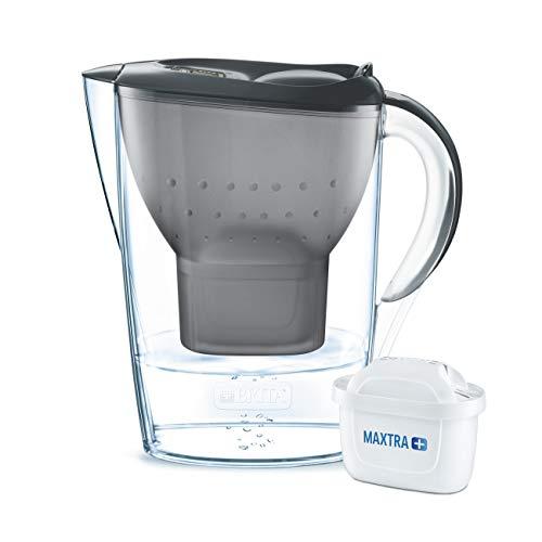 BRITA Wasserfilter Marella graphitgrau inkl. 1 MAXTRA+ Filterkartusche - BRITA Filter zur Reduzierung von Kalk, Chlor & geschmacksstörenden Stoffen im Wasser - Wasser-filter-flasche Britta