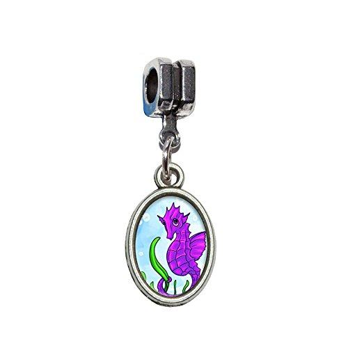 Seepferdchen sea horse pink violett–Ocean Water Niedlich Italienisches europäischen Euro-Stil Armband Charm Bead–für Pandora, Biagi, Troll,, Chamilla,, andere
