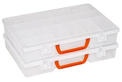 Preisvergleich Produktbild 2 Stück XL Sortimentskasten Organizer mit 11 Einteilern und großem Stauraum von Kreher, Maße 34,5 x 24 x 6 cm