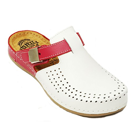 BRIL Dr Punto Rosso Y77 Komfortschuhe Lederschuhe Pantolette Clog Damen, Weiß Pink, EU 39