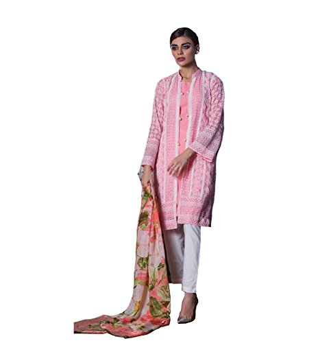 MADEESH Pakistani Suits for Women, Pure Cotton Satin with Embroidery Party Wear,...