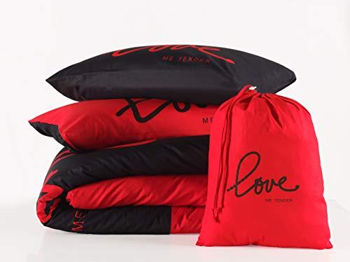 3 tlg. Renforcé Bettwäsche Set | Bettdeckenbezug 200x220 cm, mit 2 Kopfkissenbezüge 80x80 cm | LOVE ME TENDER | Rot - Schwarz | 3 teilig Bettgarnitur | Baumwolle Bettbezug mit Reißverschluss OEKO-TEX - Bettbezug Rot