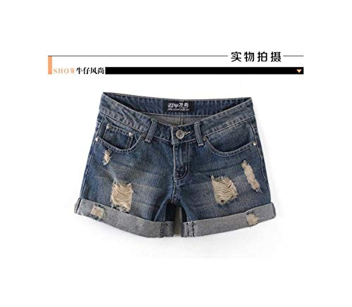 GELORT& Summer New Large Size Short Jeans Women Broken Cat Whisker high Waist Self-Cultivation Rolled Edge Casual Shorts T1023 205 XXXL - Button Fly Denim Bib