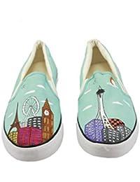 Unisex Canvas Hand Painted Casual Slipon Shoes - Seattle City Landscape Design + FREE LOAFER SOCKS