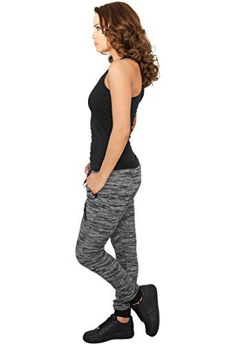 tb791Ladies Fitted Melange Zip Femme Pantalon de Jogging Pantalon de sport Fitness Noir - Noir/gris