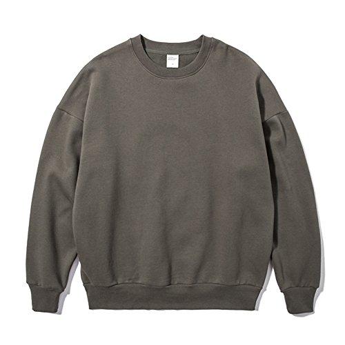 Sweatshirts Unisexe Automne - Hoodies Femme Tops Manches Longues Blouses Noir Blanc Gris Jaune Vert Orange Abricot S-2XL Yuxin Gris vert