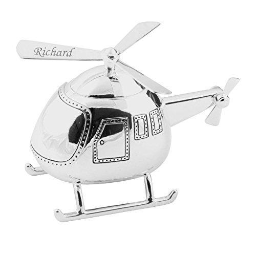 Schöne Helicopter Spardose versilbert Taufe Boy Gift